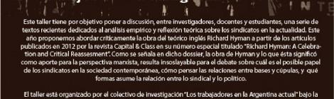 [Taller] Los trabajadores en la Argentina actual, cuarto encuentro