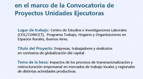 [Convocatoria] Búsqueda de postulante a beca doctoral de CONICET en el marco de la Convocatoria de Proyectos Unidades Ejecutoras