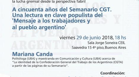 [Seminario] A cincuenta años del Semanario CGT / Mariana Canda
