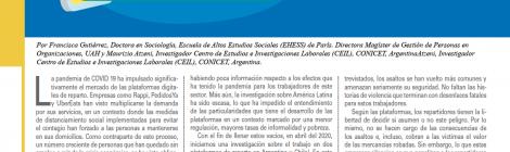 [Artículo] Repartidores de plataformas: víctimas invisibles de la pandemia / Francisca Gutiérrez y Maurizio Atzeni